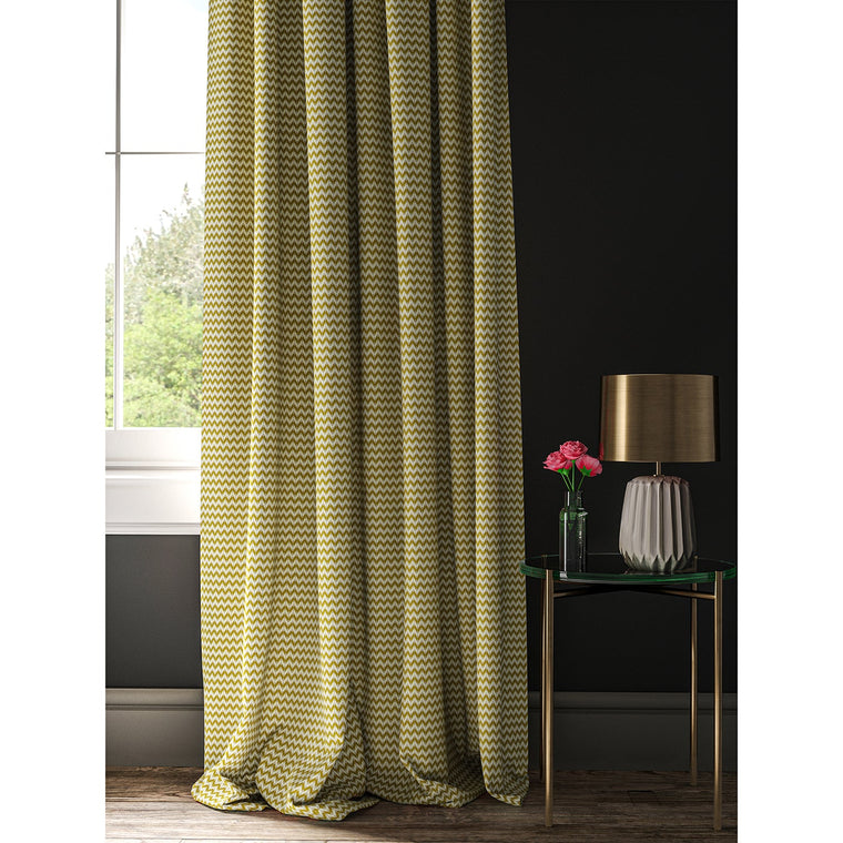 Curtain in a yellow and neutral geometric weave