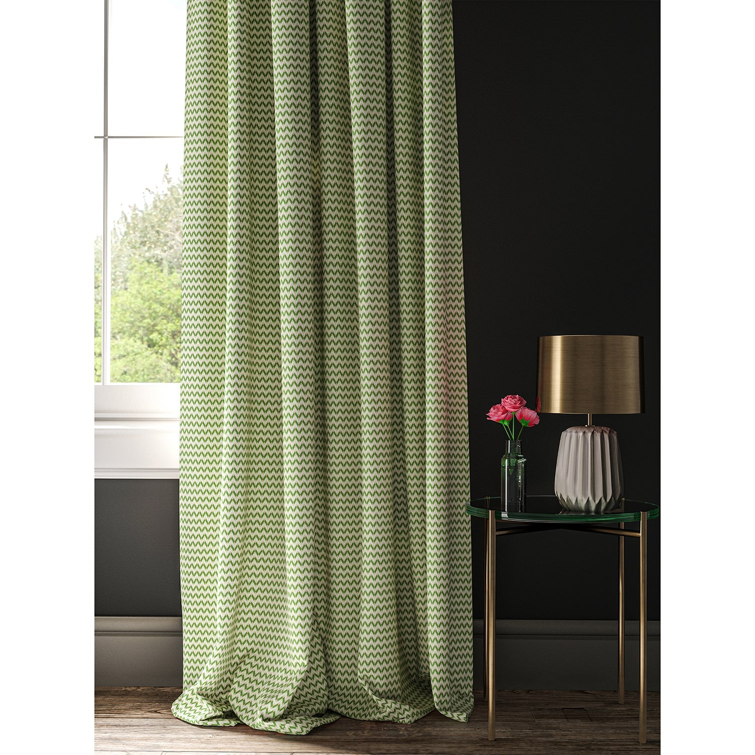 Curtain made with a light green, pink and cream geometric weave fabric