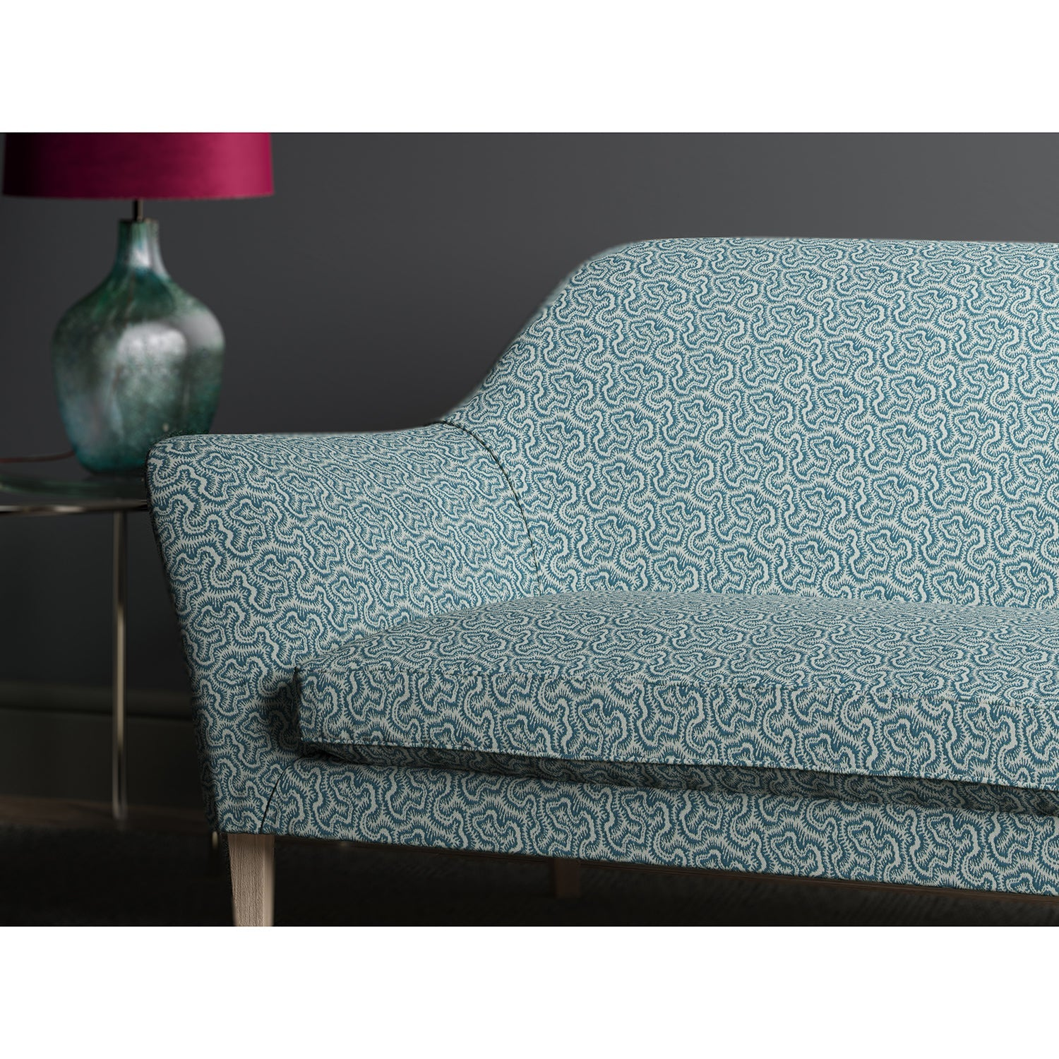 Sofa in design name Polka, colourway Cobalt from Tango Weaves.