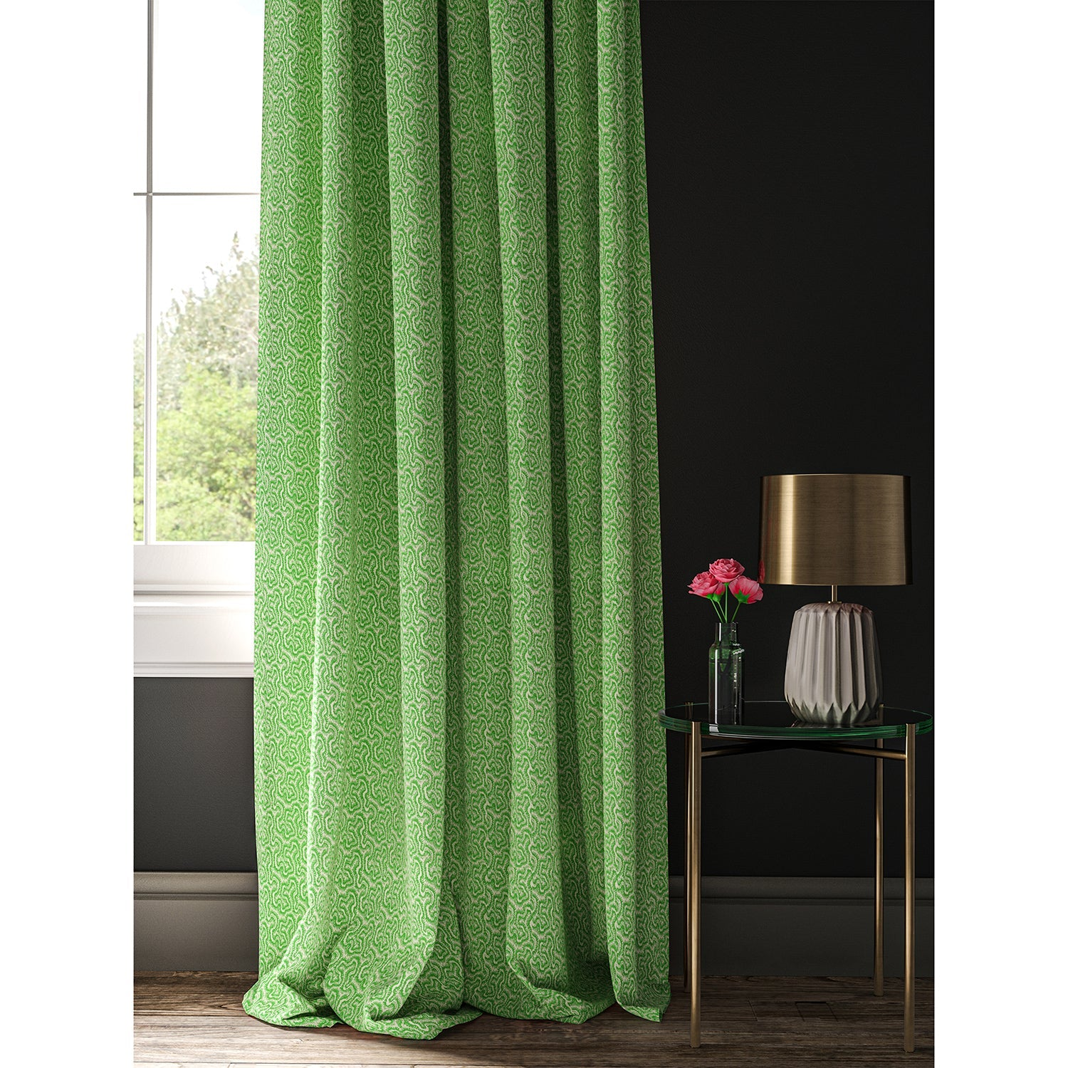 Curtain made with a green and white wavy weave fabric.