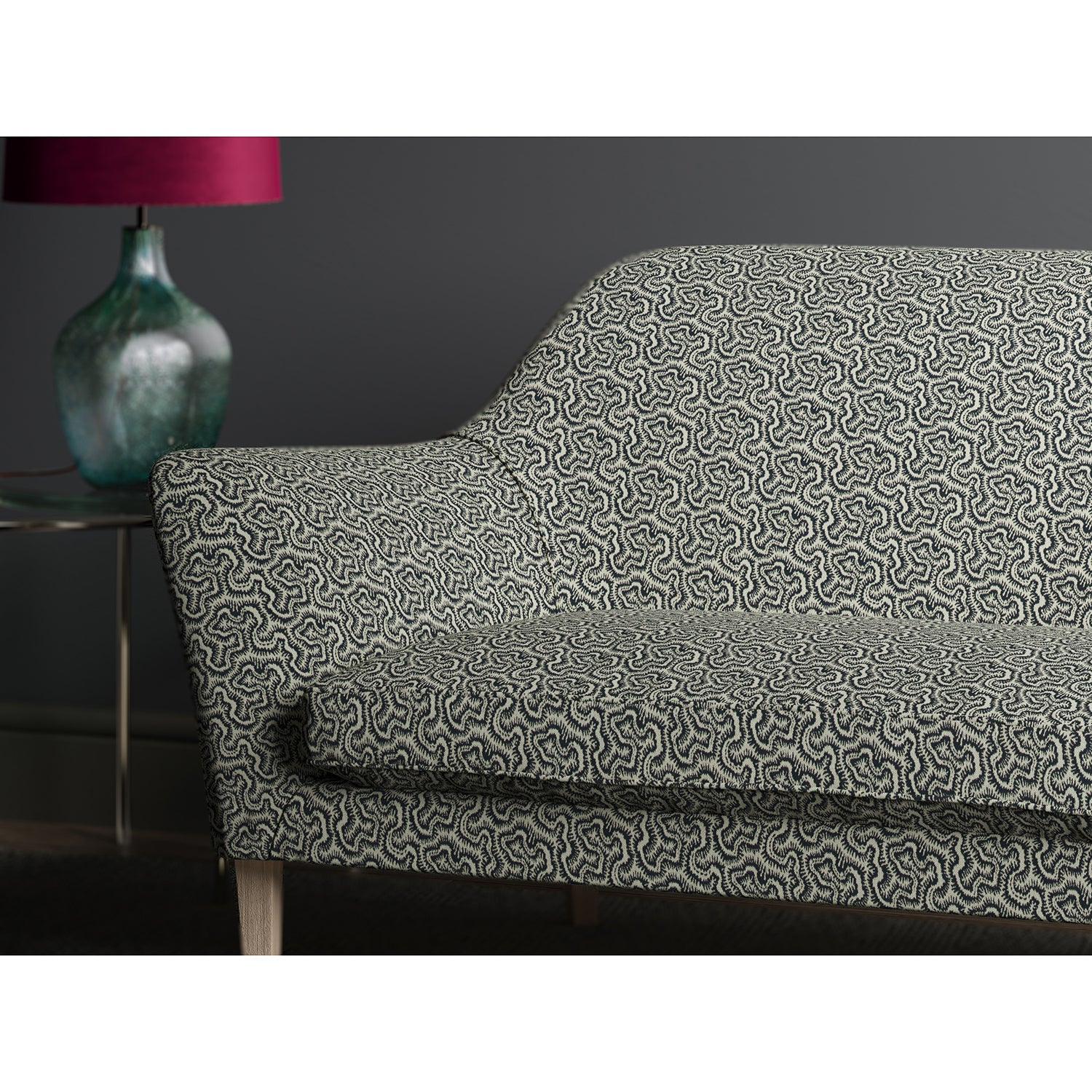 Sofa upholstered in design name Polka, colourway Midnight.