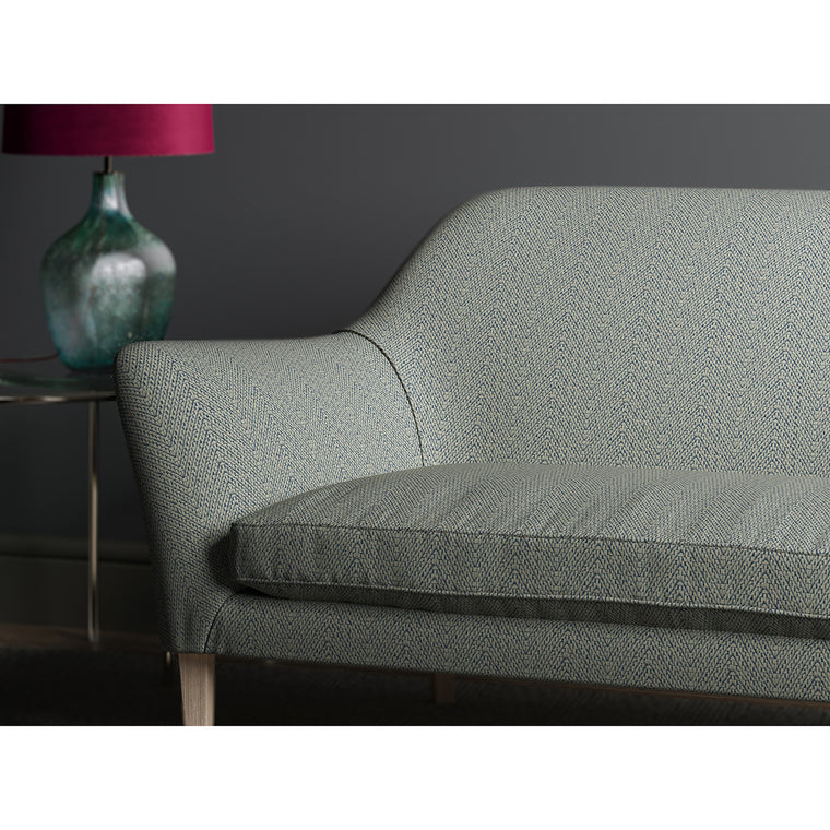 Sofa in design name Salta, colourway Azure from Tango Weaves.