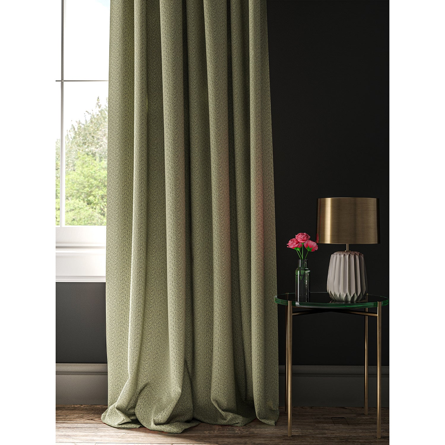 Curtain made with black and neutral geometric fabric.