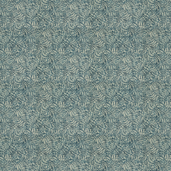 Dark blue fabric for curtains and upholstery with a small white tropical print