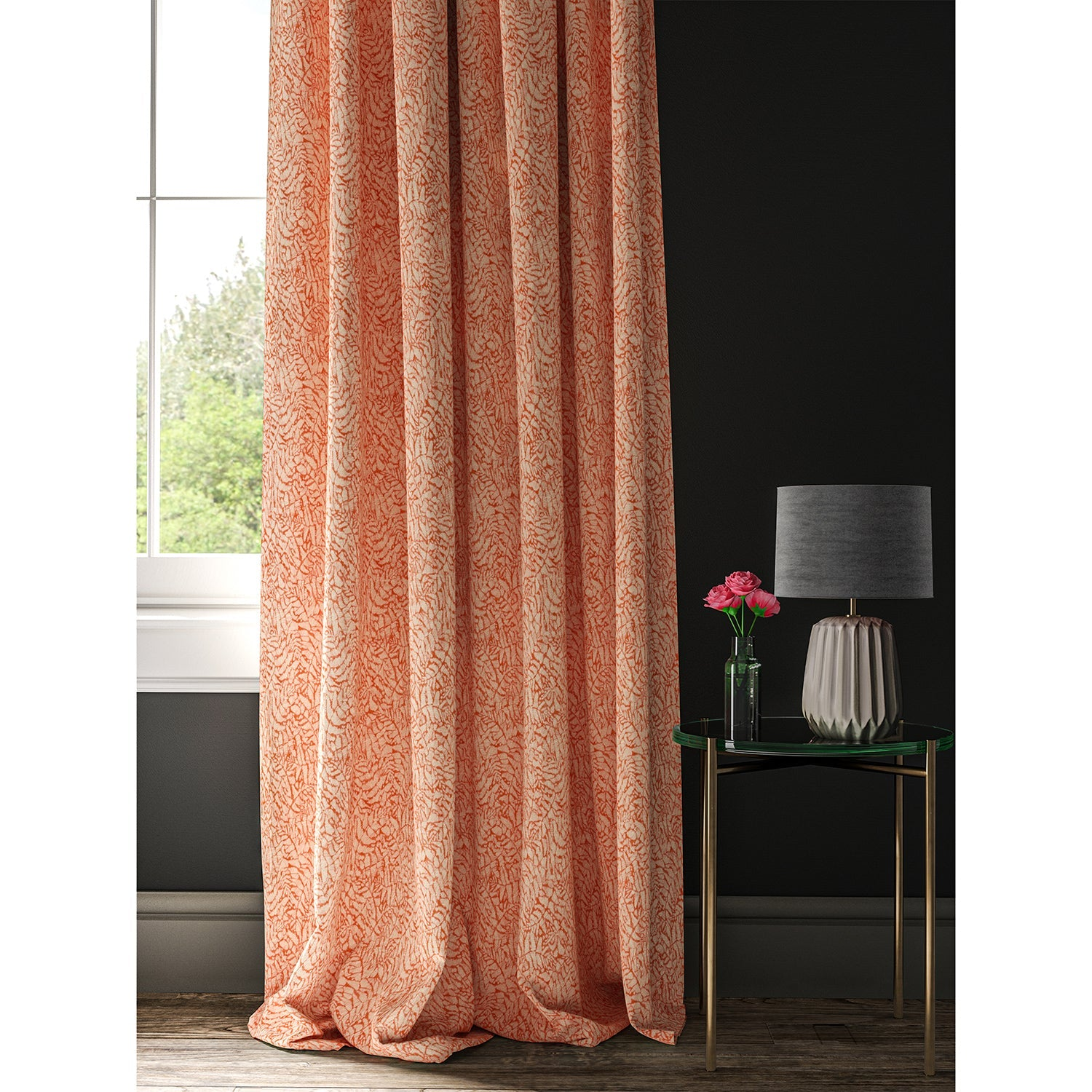 Orange curtain with a small white print