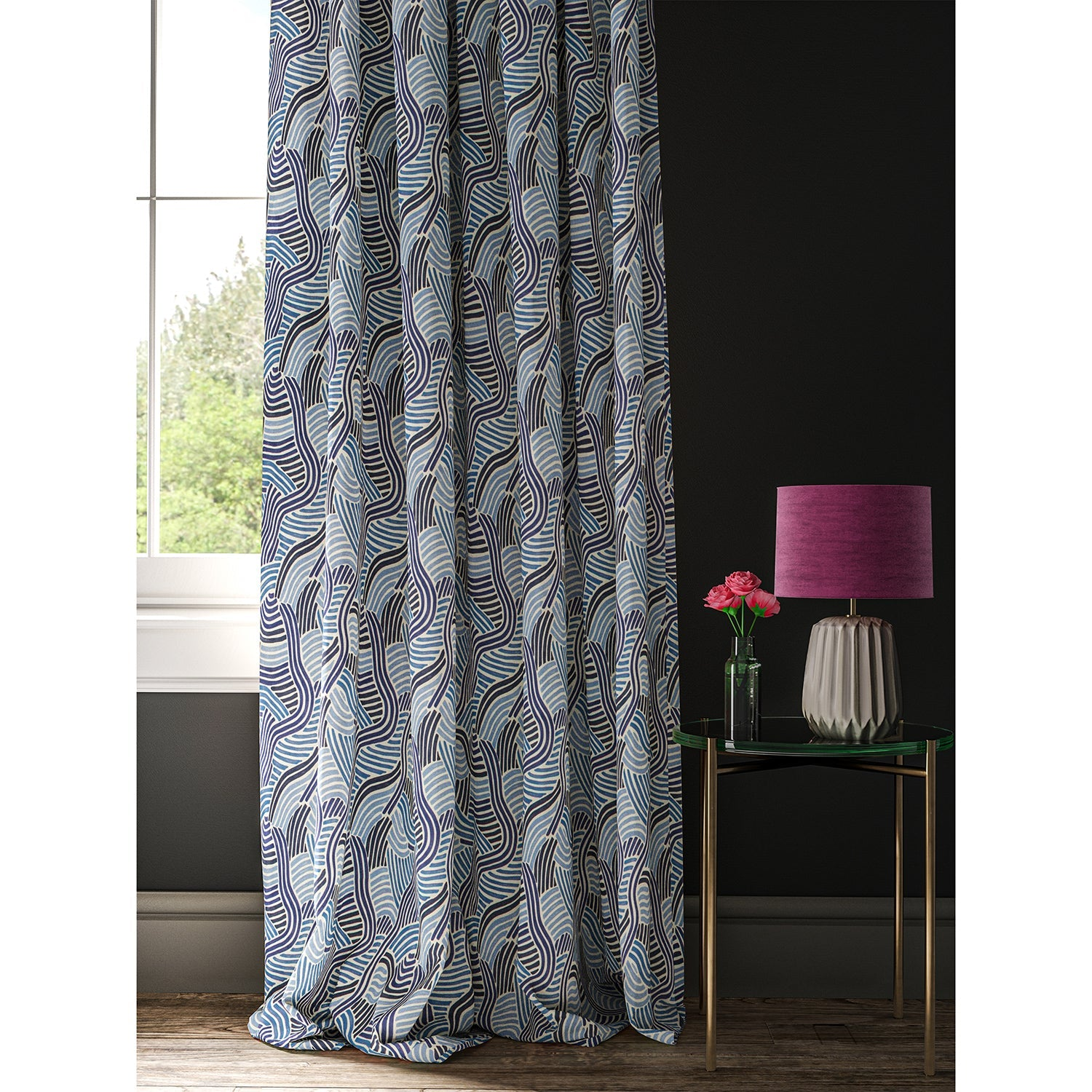Curtain with a contemporary wavy blue design