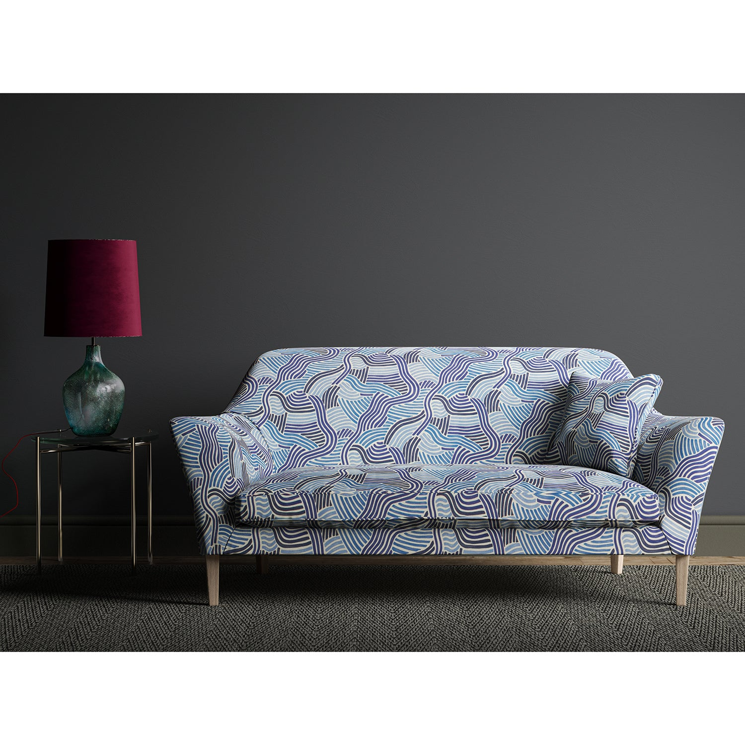 Sofa upholstered in a modern blue wavy print fabric