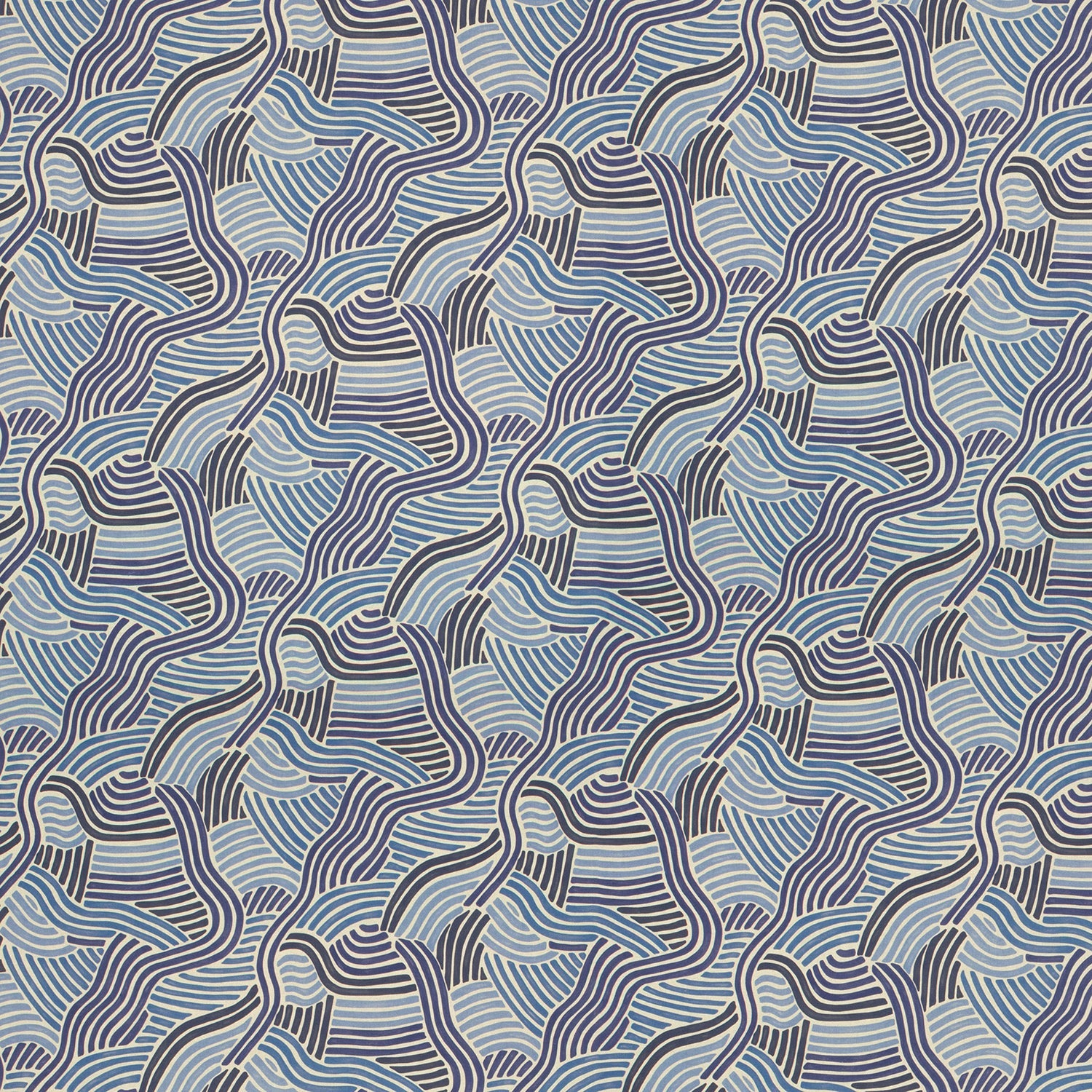 Modern blue wavy printed fabric for curtains and upholstery