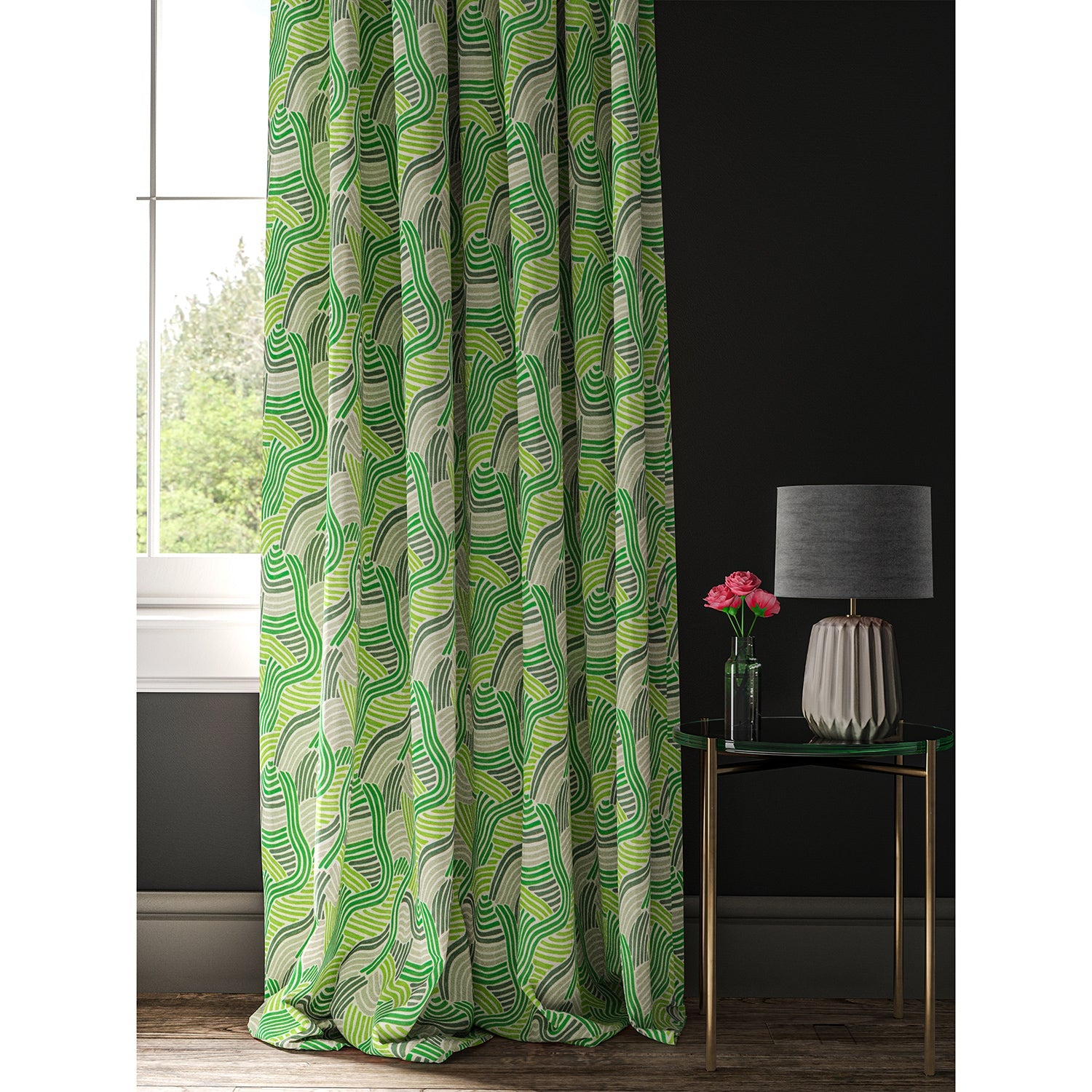 Green curtain with a modern wavy print