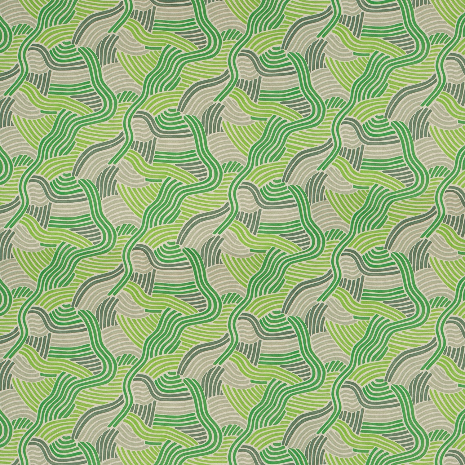 Fabric for curtains and upholstery with a modern green wavy design