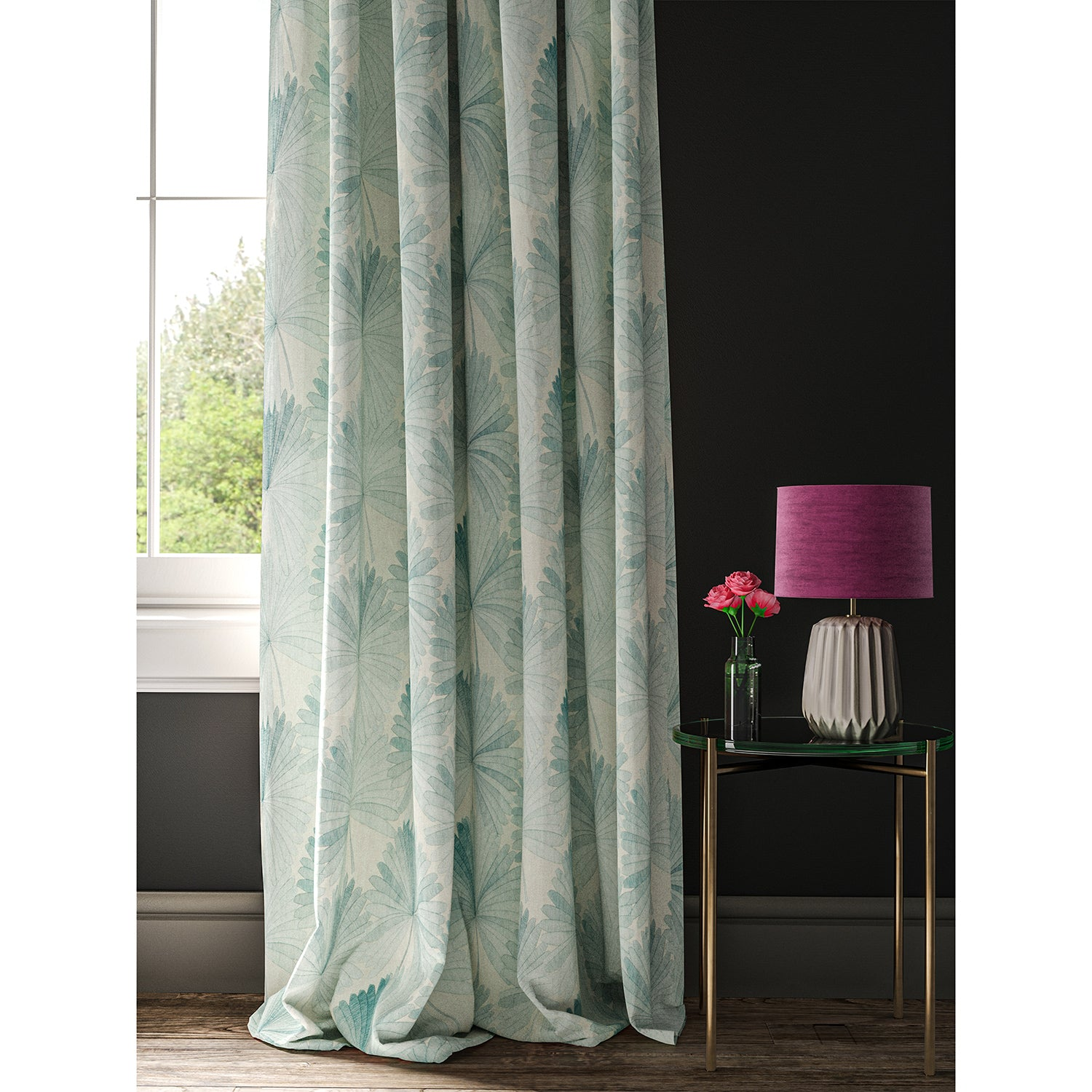 White curtain with a light blue fan design