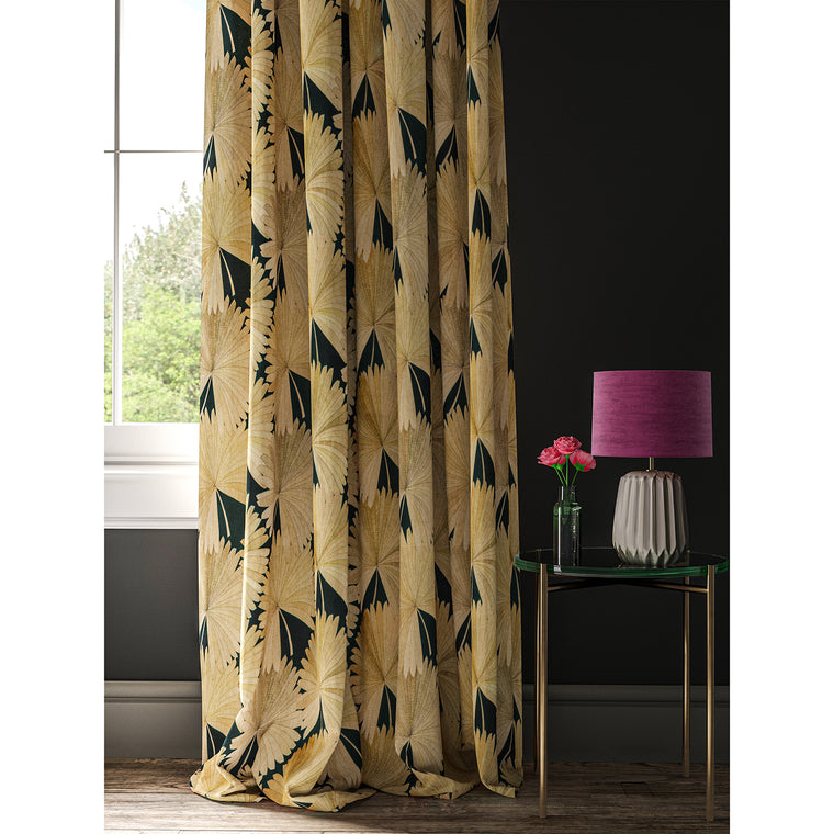 Black curtain with printed fan design
