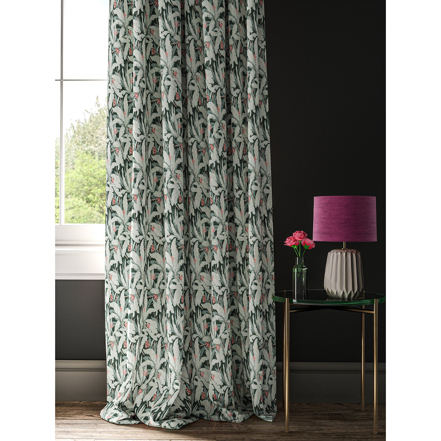 Curtain with a blue tropical leaf print fabric