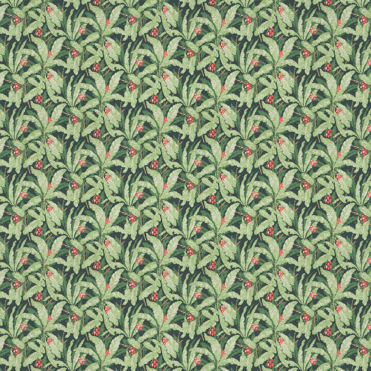 Tropical leaf fabric for curtains and upholstery with green and navy colours