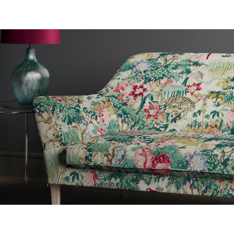 Sofa in a tropical linen fabric with jungle scene