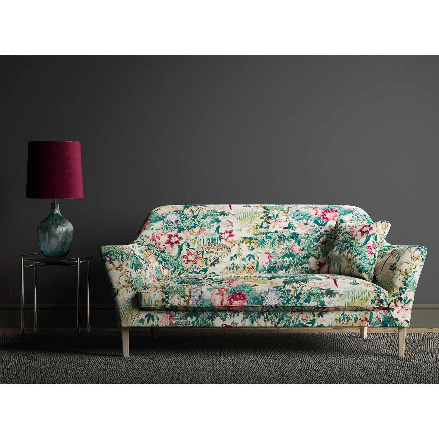 Sofa in a tropical linen fabric with a printed exotic jungle scene