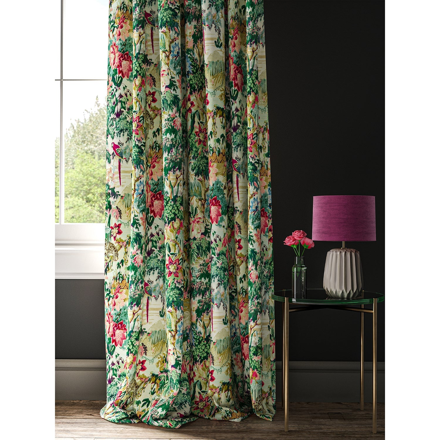 Velvet curtain with a tropical, exotic jungle scene
