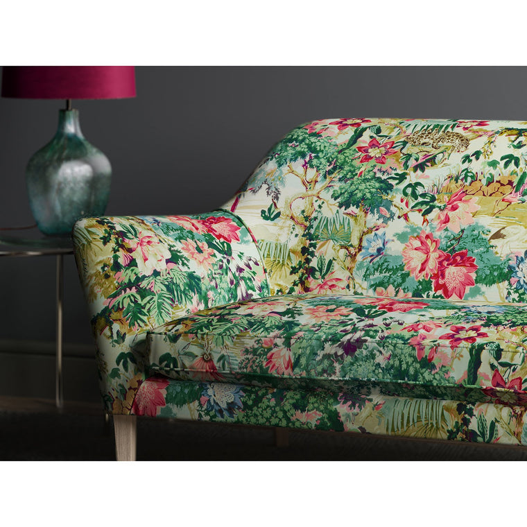 Sofa in a printed cotton velvet with a tropical jungle scene