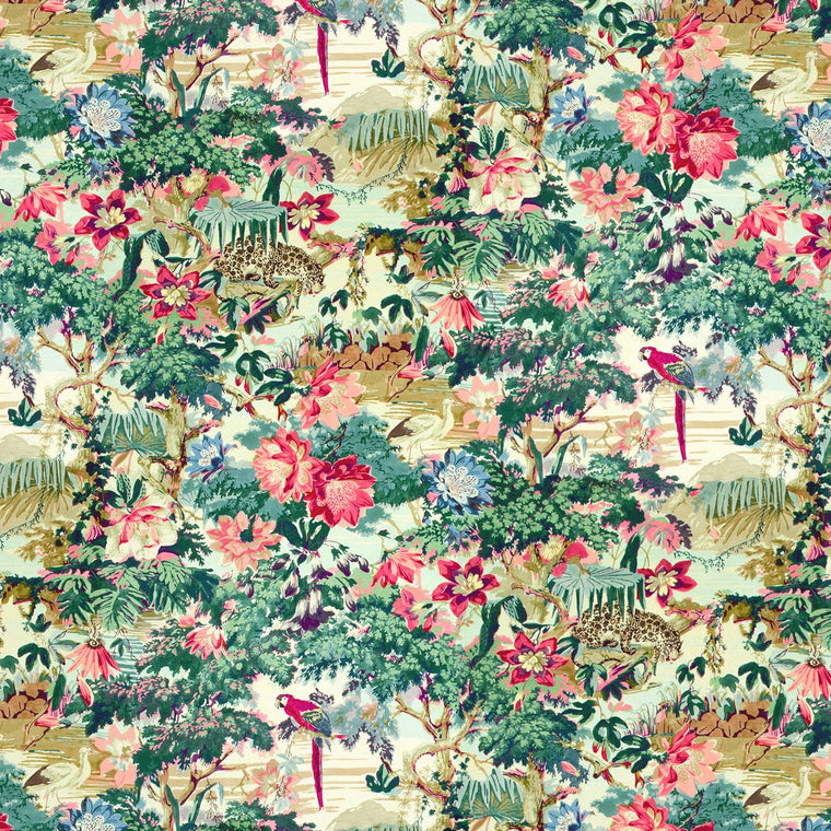 Luxurious printed cotton velvet fabric for upholstery and curtains with an exotic tropical jungle scene