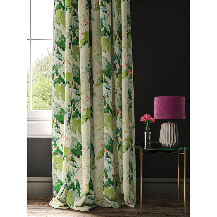 Linen curtain with a tropical bird print fabric