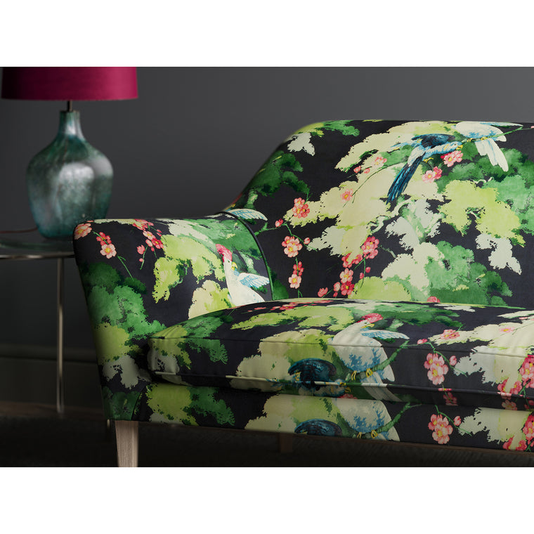 Sofa in a tropical velvet fabric