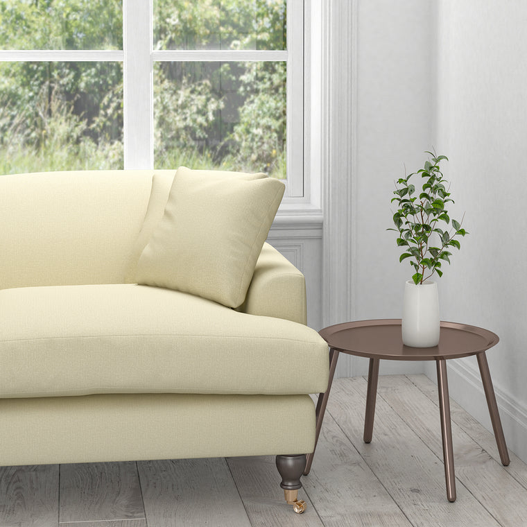 Sofa in a white plain cotton upholstery fabric with a stain resistant finish
