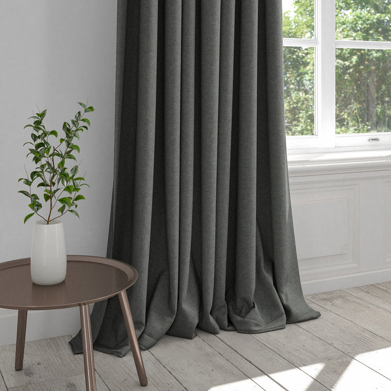 Curtain in a plain dark grey washable cotton fabric