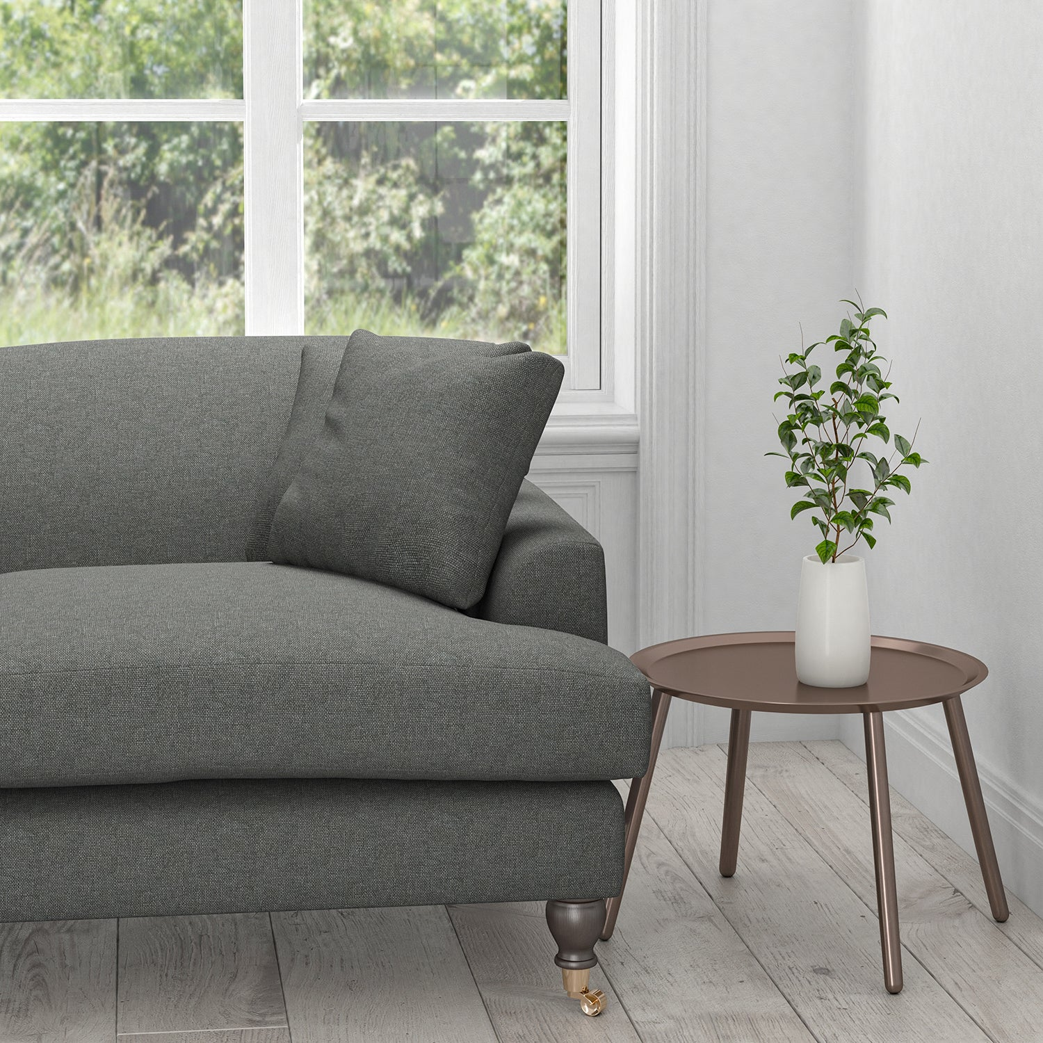 Sofa in a dark grey plain cotton upholstery fabric with a stain resistant finish