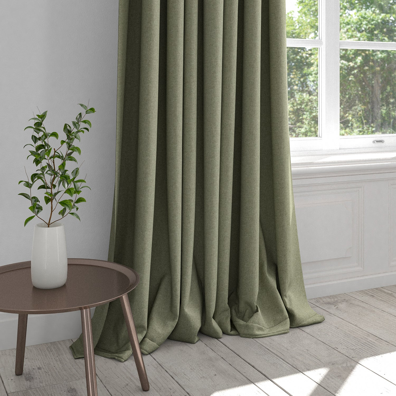 Curtain in a plain grey washable cotton fabric