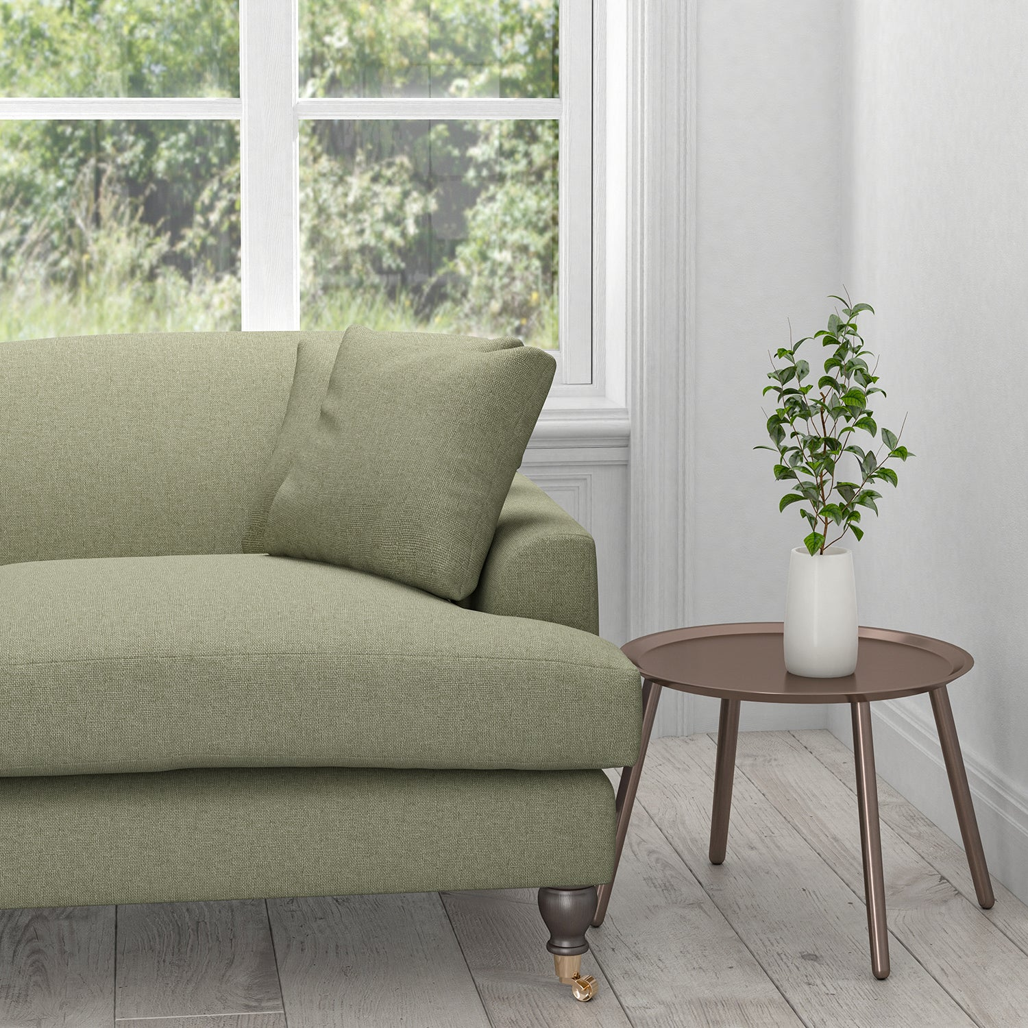 Sofa in a plain grey cotton washable upholstery fabric