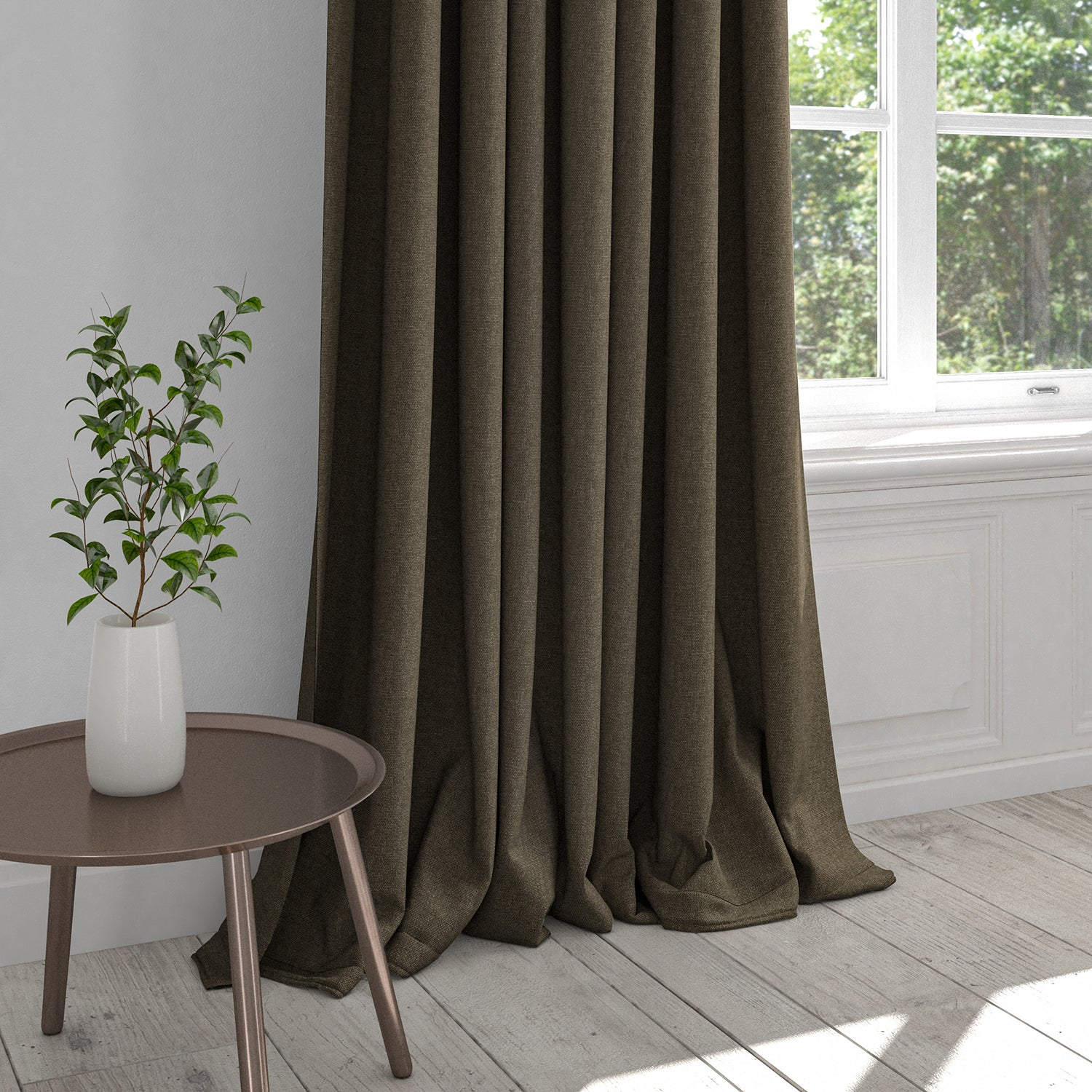 Curtain in a brown cotton washable furnishing fabric