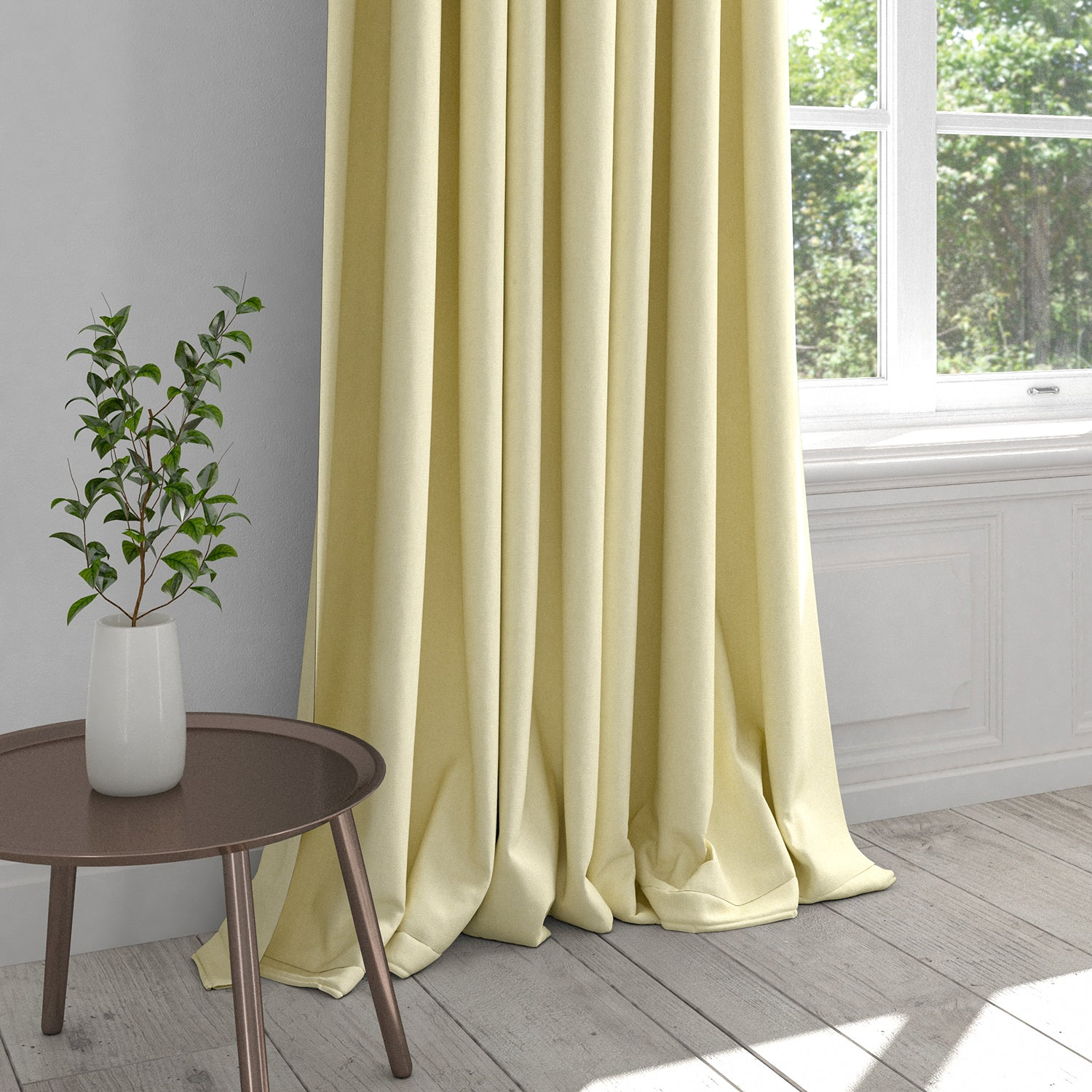 Curtain in a off-white plain cotton furnishing fabric
