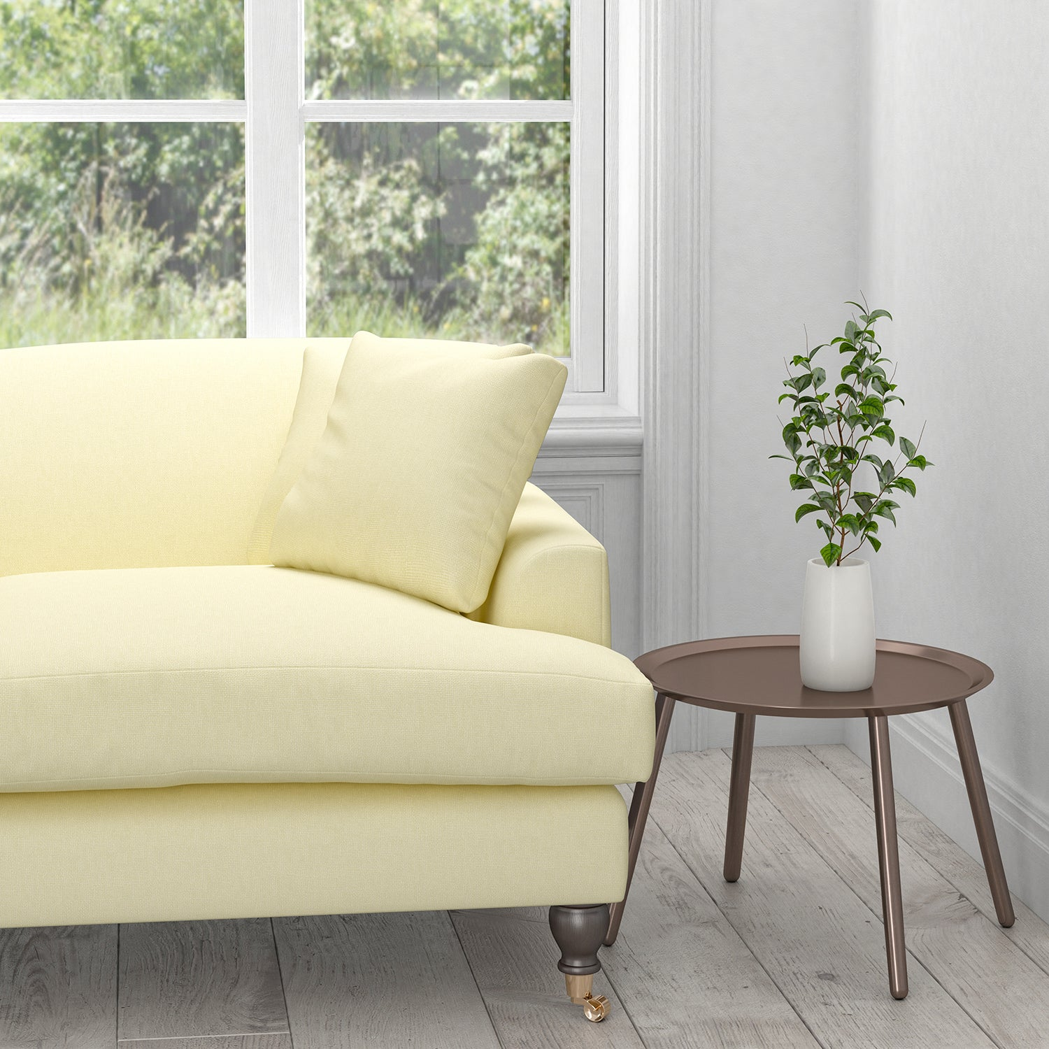 Sofa in an off-white plain cotton washable upholstery fabric