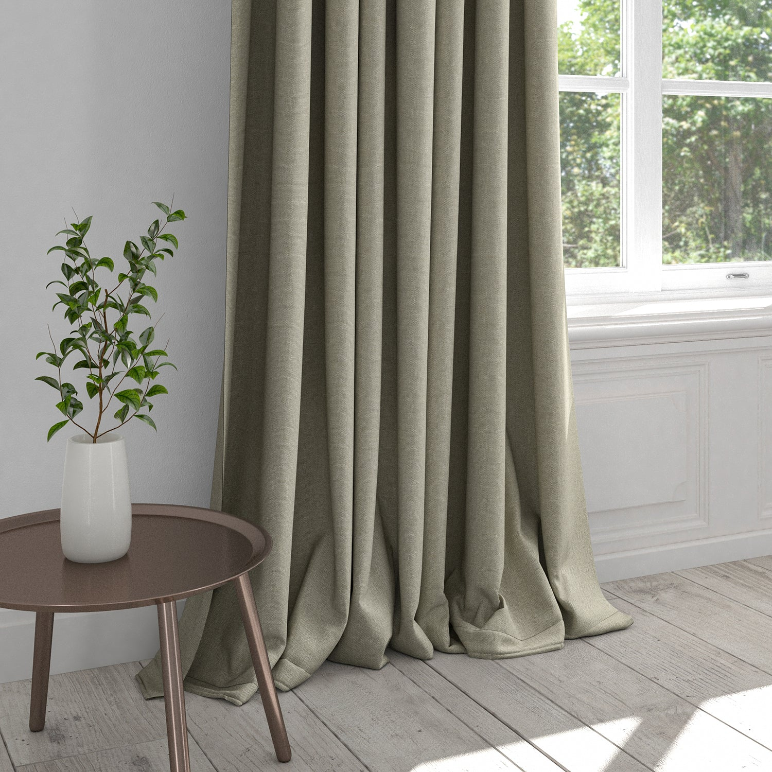Curtain in a stone coloured washable cotton fabric