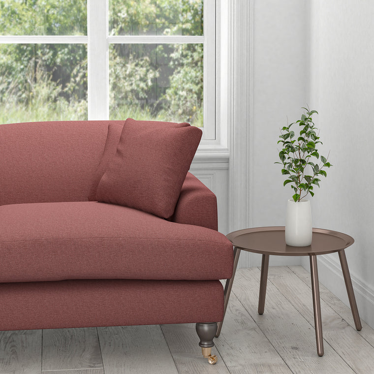 Sofa in a berry red plain cotton upholstery fabric