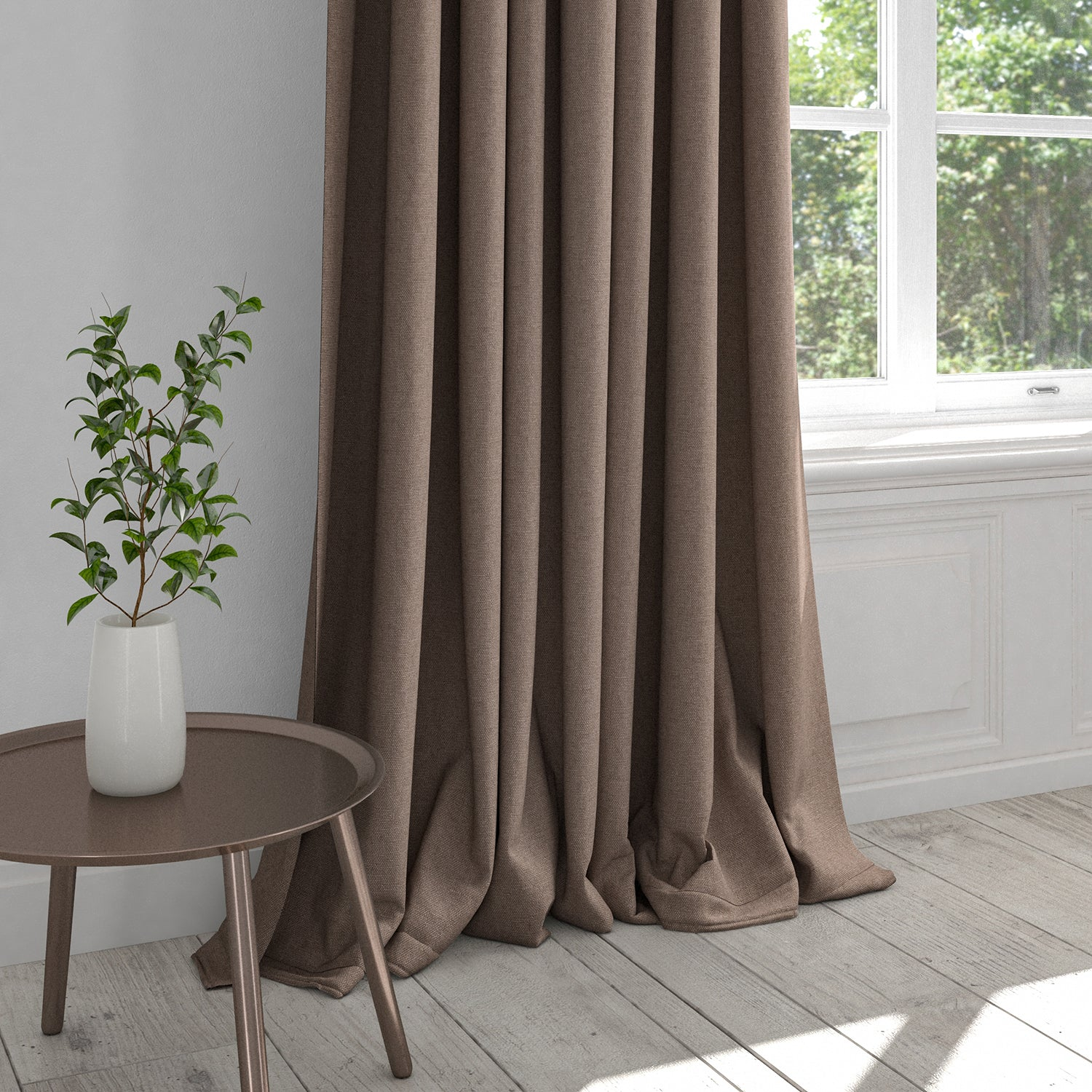 Curtain in a mauve washable cotton plain fabric