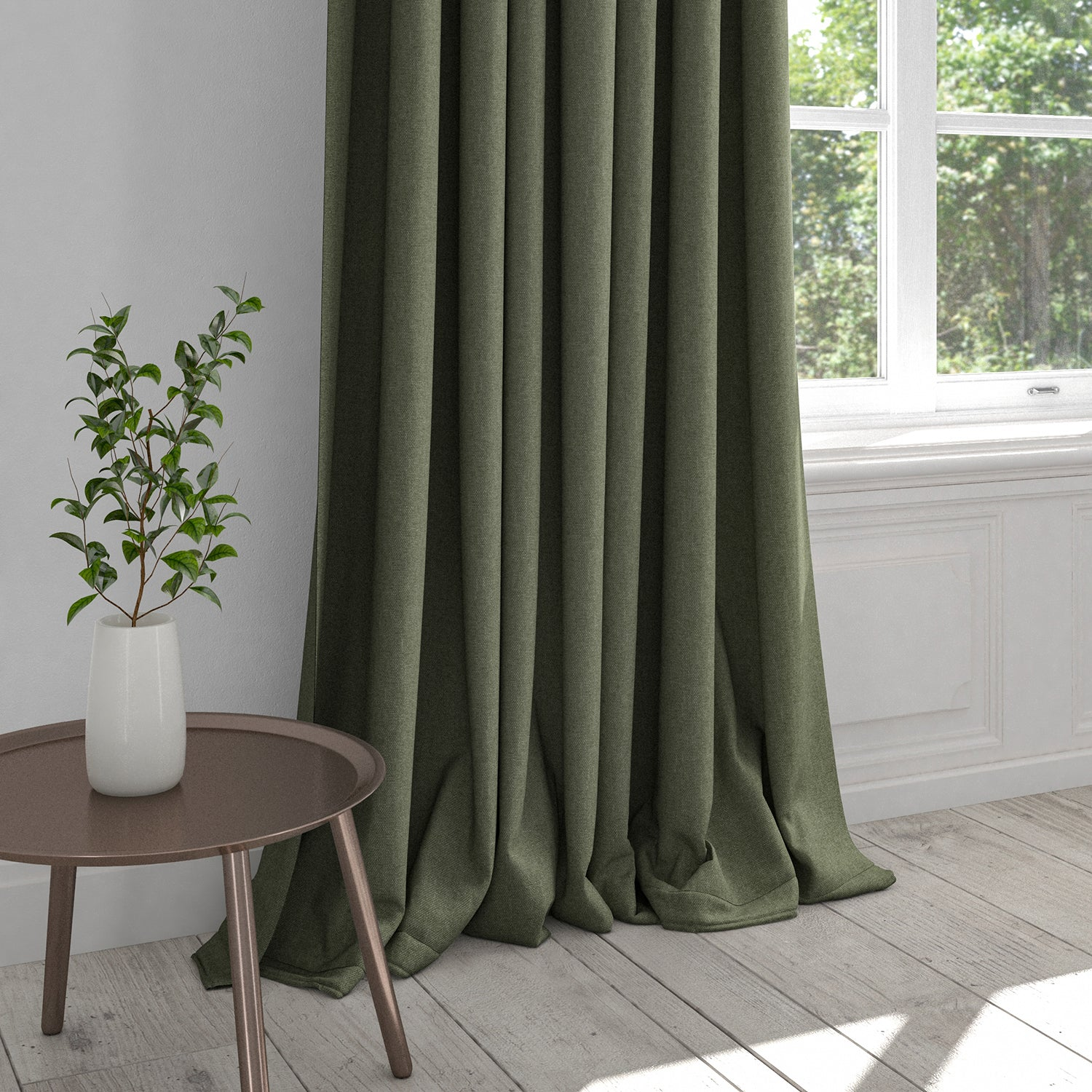 Curtain in a deep taupe plain cotton fabric with a stain resistant finish