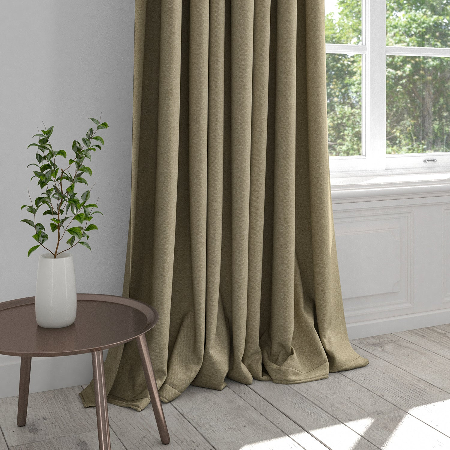 Curtain in a brown plain cotton washable fabric