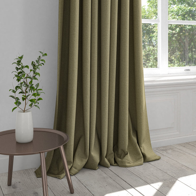 Curtain in a dark neutral plain cotton fabric