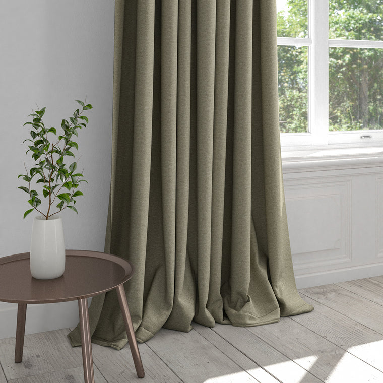 Curtain in a Taupe coloured plain cotton washable fabric