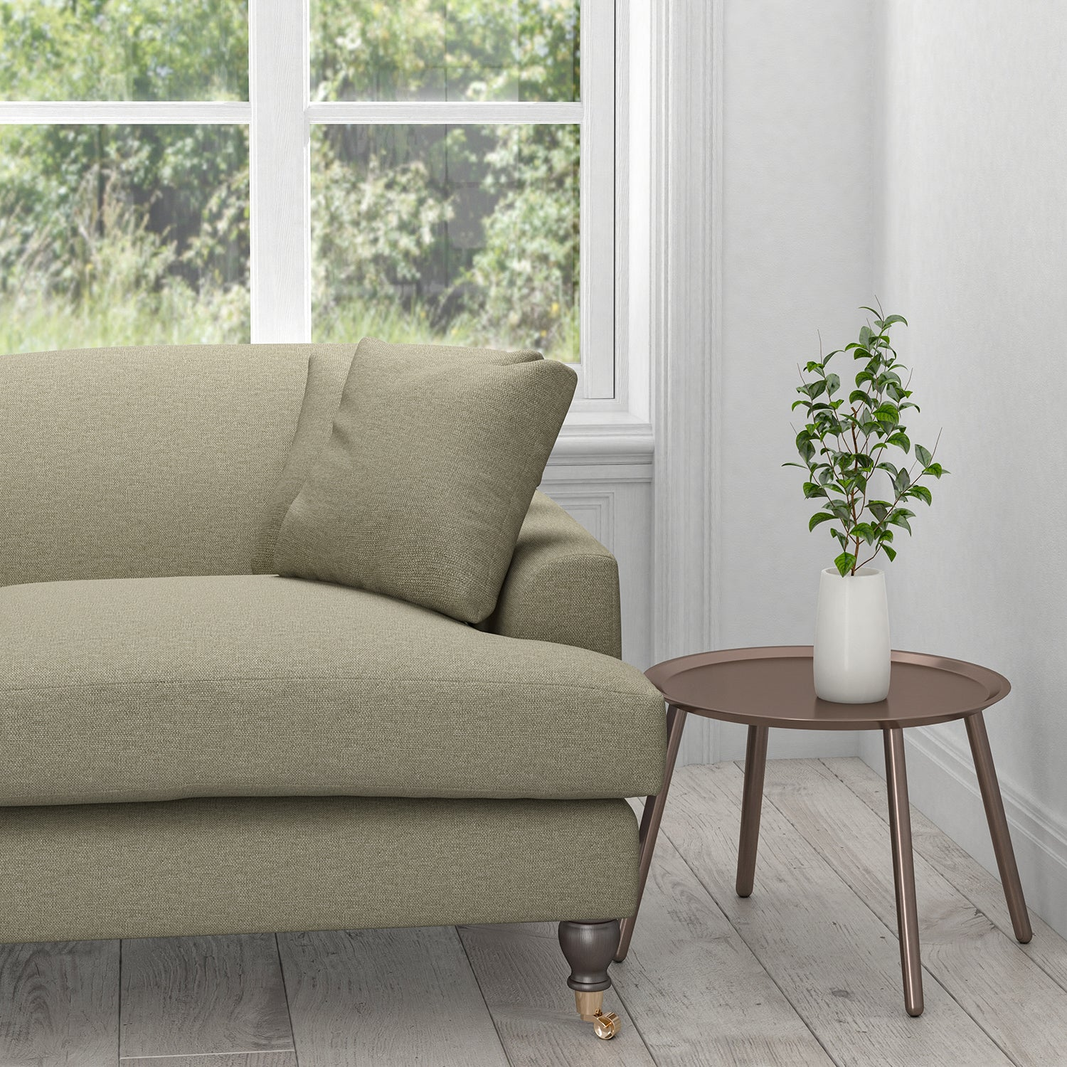 Sofa in a taupe cotton plain upholstery fabric