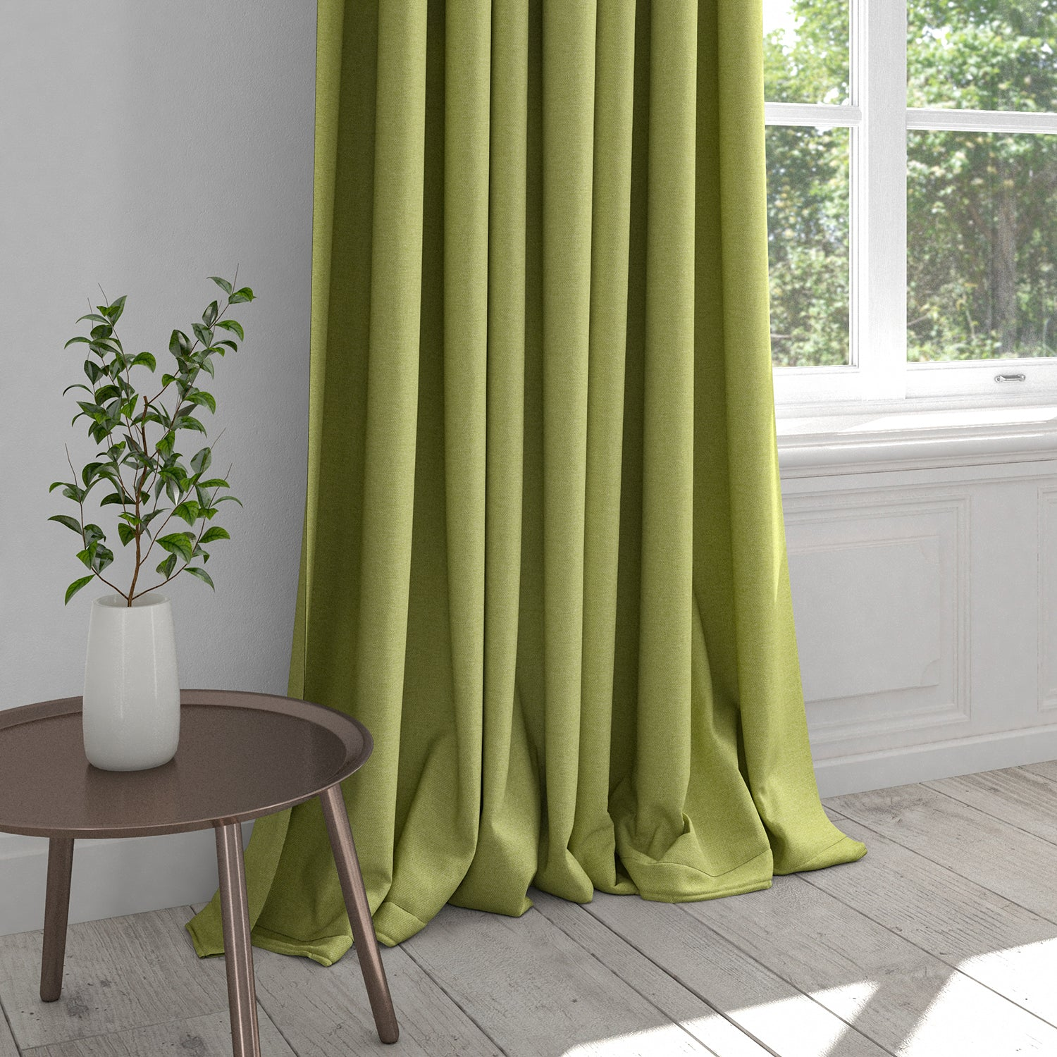 Plain lime green curtain in a cotton fabric
