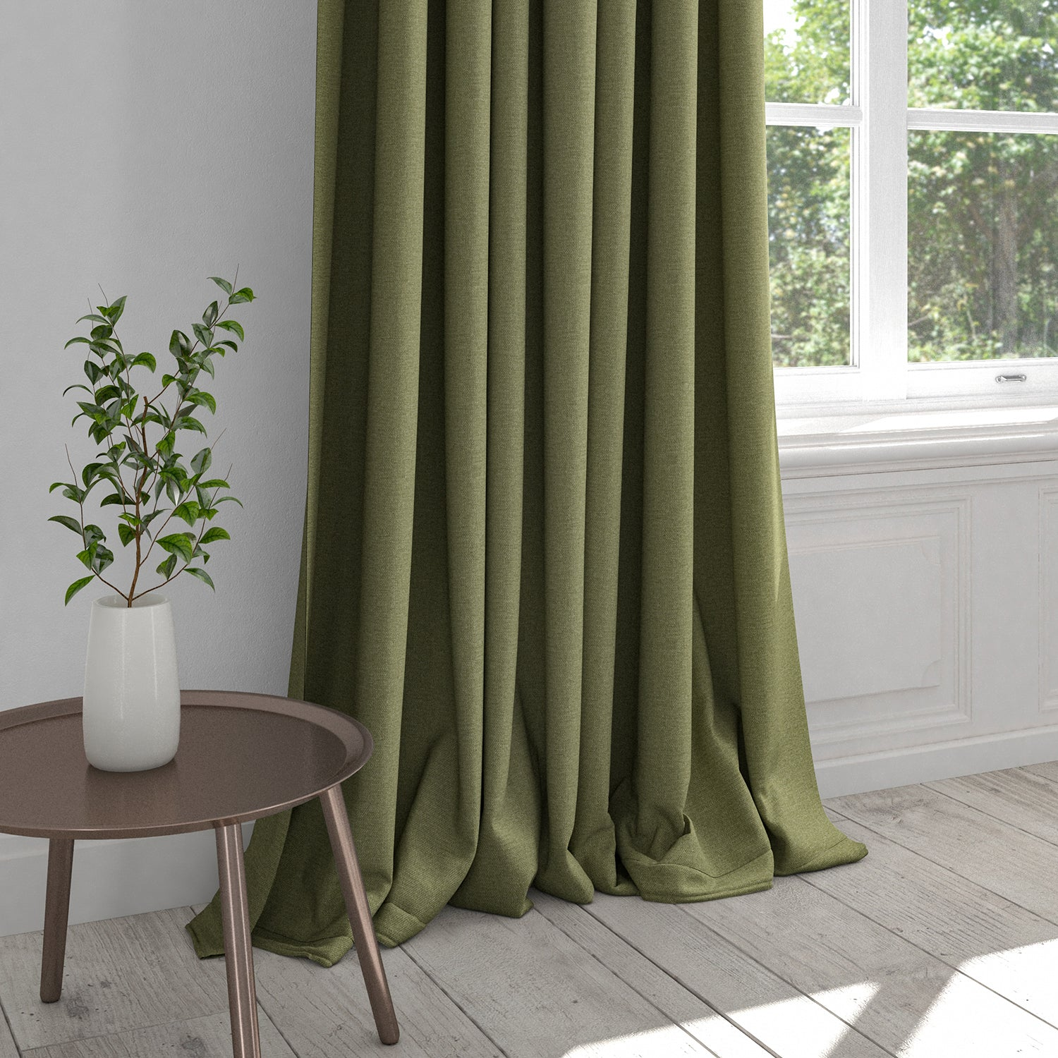 Curtain in a plain khaki green cotton fabric