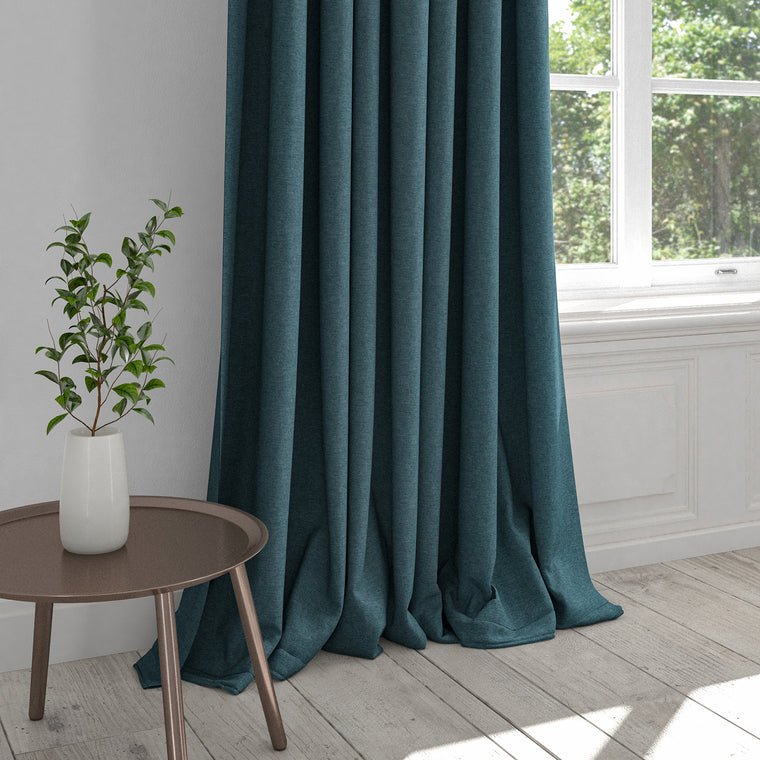 Plain ocean blue curtain in a cotton fabric