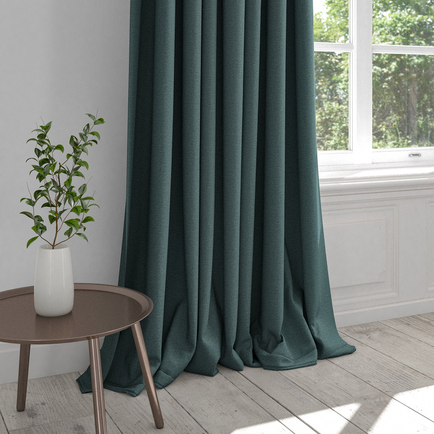 Curtain in a dark blue plain cotton fabric