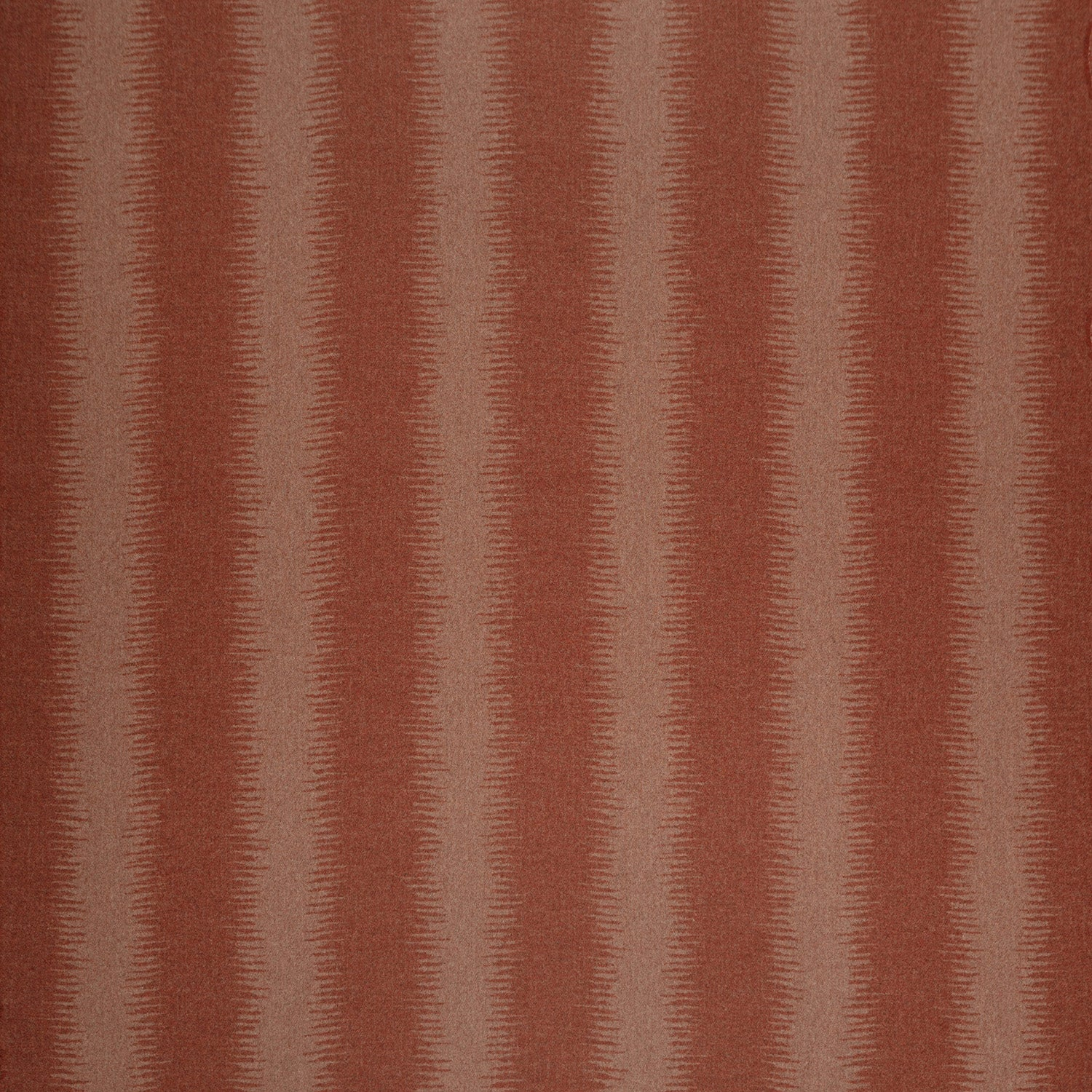 Fabric swatch of a terracotta wool fabric with a lighter stripe, suitable for curtains and upholstery