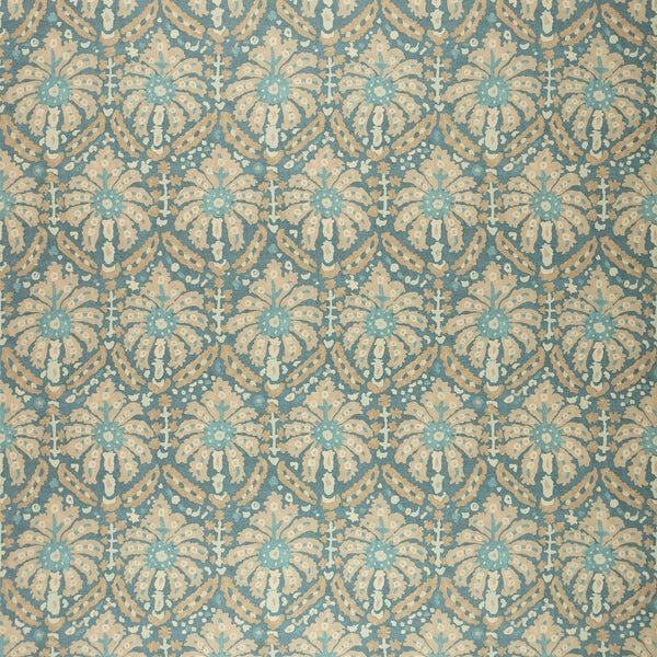 Fabric swatch of a printed wool fabric in blue and grey colours with an abstract design, suitable for curtains and upholstery