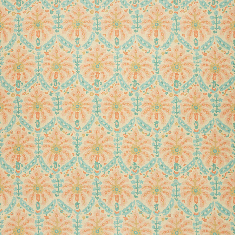 Fabric swatch of a printed wool fabric in pastel colours with an abstract design, suitable for curtains and upholstery