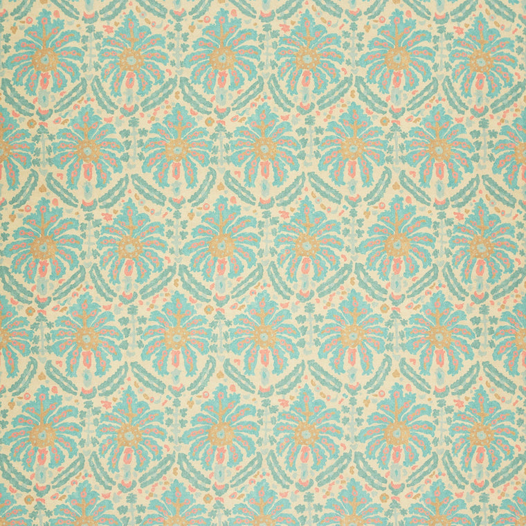 Fabric swatch of a printed wool fabric in blue and pink colours with an abstract design, suitable for curtains and upholstery