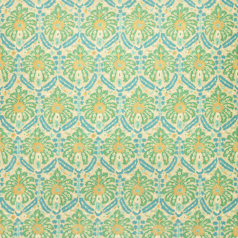 Fabric swatch of a printed wool fabric in blue and green colours with an abstract design, suitable for curtains and upholstery